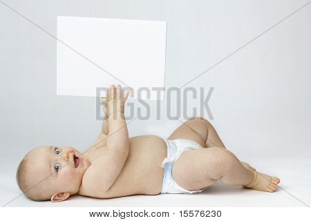 White Isolation Of Baby With Blank Board