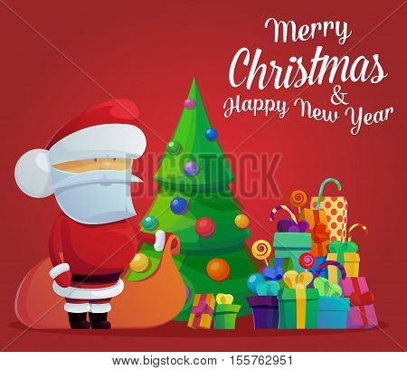Santa claus on new year or christmas eve. Greeting card with santa claus or poster with fir-tree and gift or present boxes. May be used for holidays with santa claus or christmas tree theme