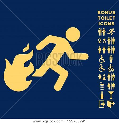 Fired Running Man icon and bonus gentleman and female lavatory symbols. Vector illustration style is flat iconic symbols, yellow color, blue background.