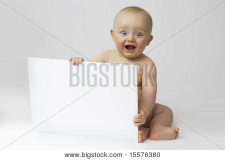 Baby With Blank Board On White