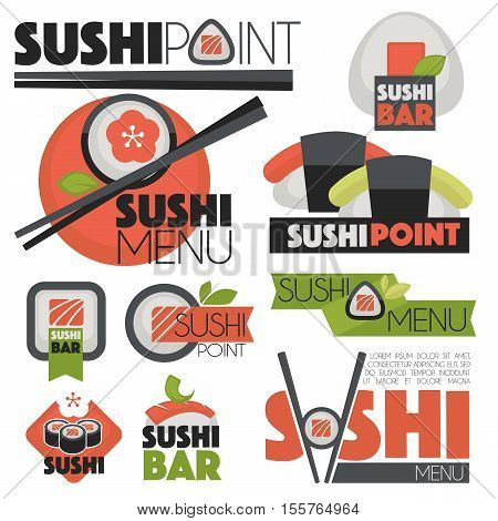 sushi banners Vector set icons badges logo and illustrations.
