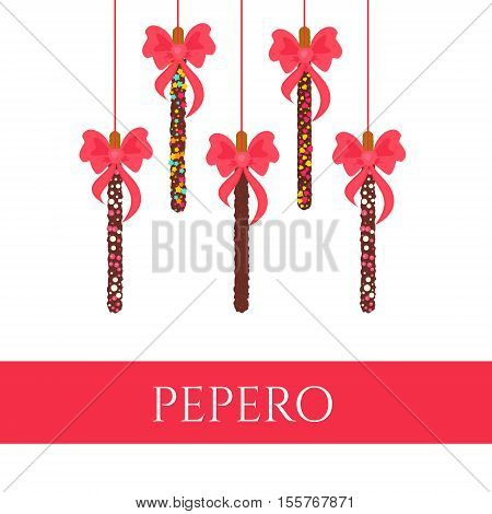 Pepero card design template with hanging chocolate sticks and bows for South Korean holiday. Assorted biscuits covered with chocolate and sprinkles on white background. Food vector illustration.