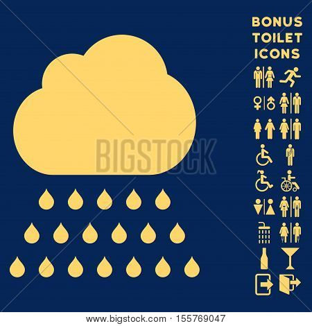 Rain Cloud icon and bonus male and female toilet symbols. Vector illustration style is flat iconic symbols, yellow color, blue background.