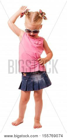 Little blonde girl in sunglasses tilted her head down isolated on white background.