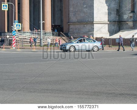 Saint Petersburg, Russia September 12, 2016: Police car on duty in front of St. Isaac's Cathedral in St. Petersburg, Russia.