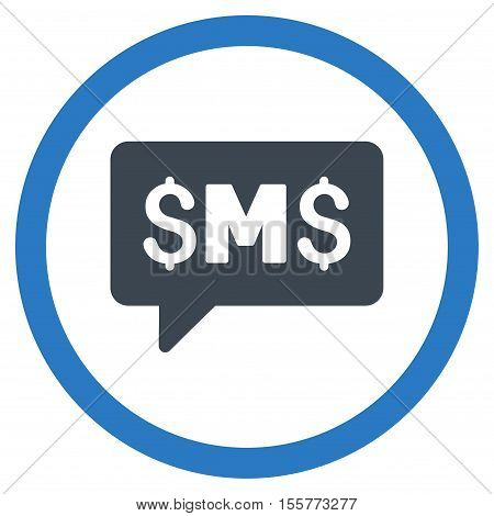 SMS Message vector bicolor rounded icon. Image style is a flat icon symbol inside a circle, smooth blue colors, white background.