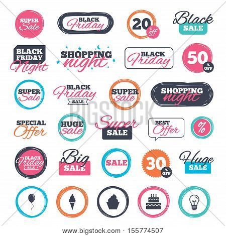 Sale shopping stickers and banners. Birthday party icons. Cake with ice cream signs. Air balloon with rope symbol. Website badges. Black friday. Vector
