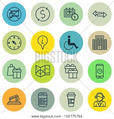 Set Of Airport Icons On Shopping, Appointment And Present Topics. Editable Vector Illustration. Incl