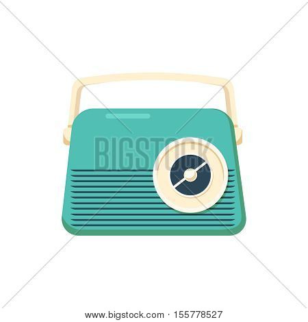 Retro style music radio , vintage vector elements , nostalgic design , good old days feeling , hipster trend , front view isolated on white background.