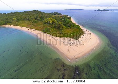 Aerial view of Rusukan Besar Island,vLabuan Pearl Of Borneo, Malaysia. Rusukan Besar Island is also the choice for those who like snorkeling especially at the southern and western part of the island.
