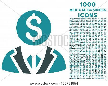 Banker vector bicolor icon with 1000 medical business icons. Set style is flat pictograms, soft blue colors, white background.