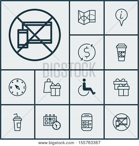 Set Of Travel Icons On Money Trasnfer, Accessibility And Shopping Topics. Editable Vector Illustrati