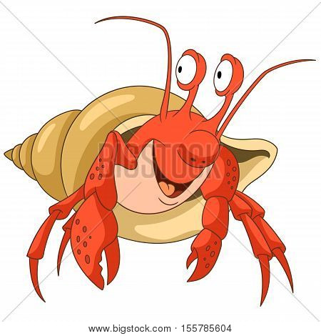 Cute and happy cartoon hermit crab with a shell isolated on white background. Childish vector illustration and colorful book page for kids.