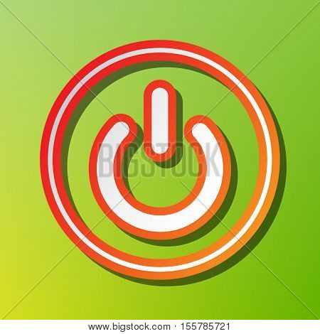 On Off Switch Sign. Contrast Icon With Reddish Stroke On Green Backgound.
