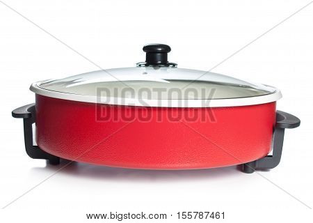 Red Steel Pan Isolated On White Background