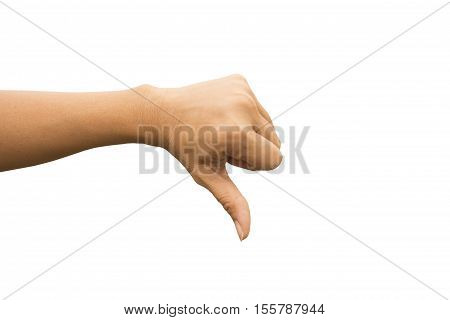 Hand symbol thump down on white background sign of unlike or bad.