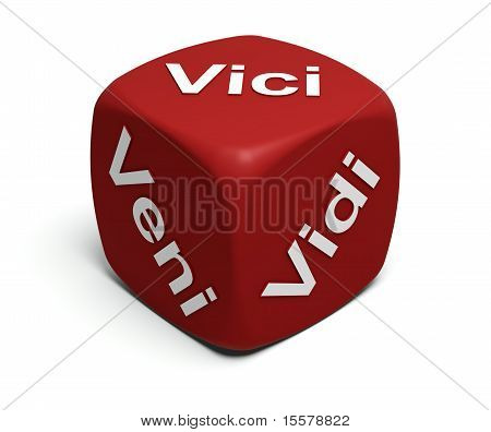 Veni, Vidi, Vici Slogan On Red Dice