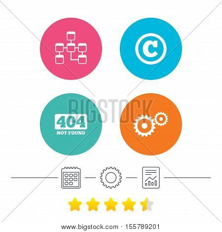 Website database icon. Copyrights and gear signs. 404 page not found symbol. Under construction. Calendar, cogwheel and report linear icons. Star vote ranking. Vector