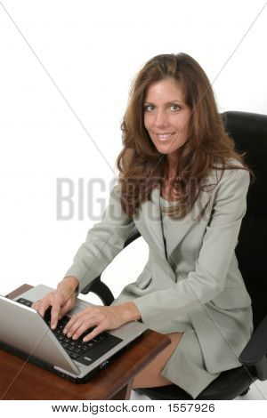 Attractive Business Woman Working On Laptop 3