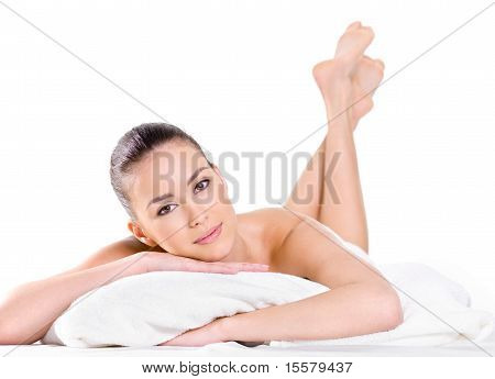 Relaxing Beautiful Woman Looking At Camera