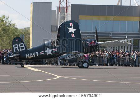 Maribor, Slovenia - April 16, 2016: Red Bull Display Team The Flying Bulls At Anual Training Camp In