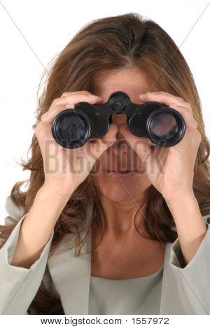 Beautiful Woman Looking Through Binoculars 3