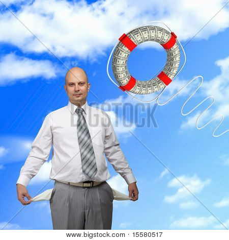 Young successful business man and a lifeline against the blue sky.