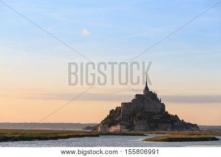 Mont Saint Michele of sunset at dusk France