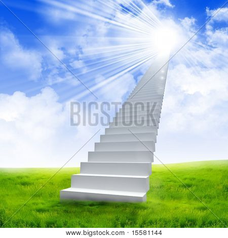 White ladder extending to a bright sky against a background of green grass. Symbol of the road to heaven