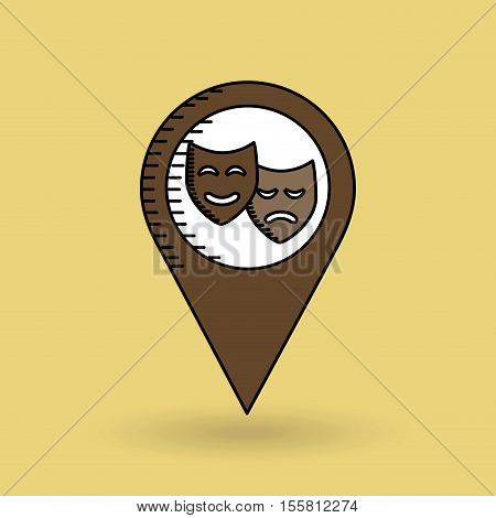 theatrical mask pin design vector illustration eps 10