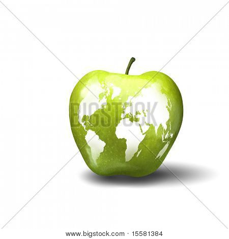 The image of the Earth caused by apple. Symbol of environmental protection.