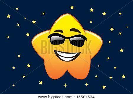 Happy Sunglasses Star Cartoon Character Illustration In Vector