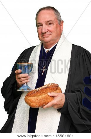 Priest with Communion Bread and Wine