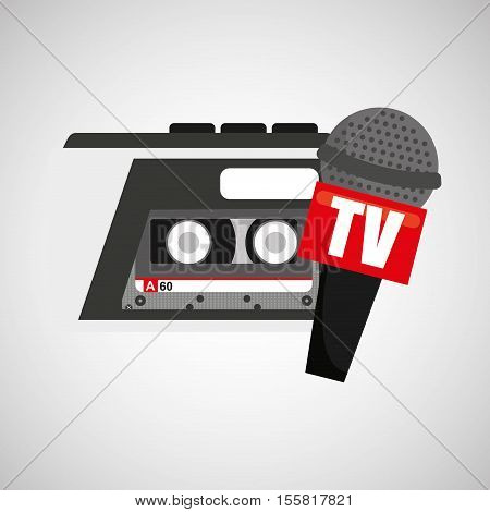 tape recorder microphone tv news icon vector illustration eps 10