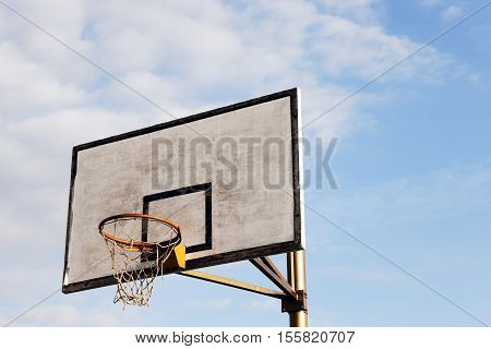 photographed close-up shield and ring for basketball. The site is located in the street