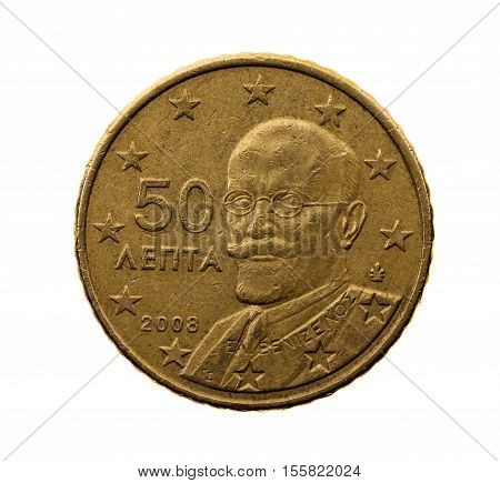 photographed close-up on white background coin euro fifty cents
