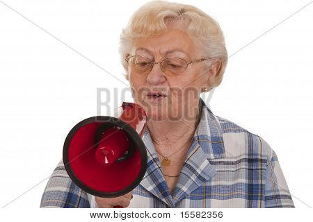 Female Senior With Megaphone