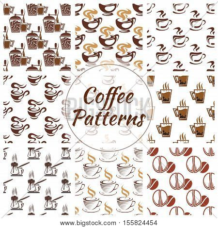 Coffee pattern of vector coffee bean, cup, coffee mill, moka, cappuccino, coffee maker icon. Coffee seamless pattern background for cafe, cafeteria