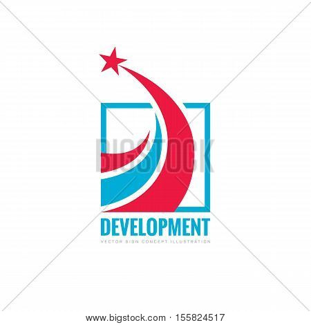 Development - abstract vector logo. Design elements with star sign. Success symbol. Growth and start-up concept illustration.