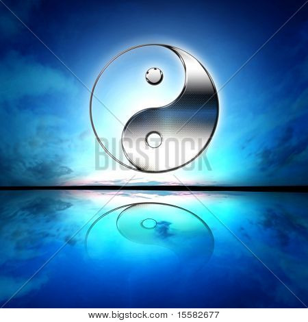 Symbol of yin and yang of the background. The sign of the two elements.
