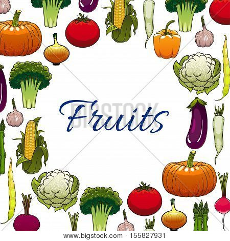 Vegetables. Vector vegetarian tomato, pumpkin, broccoli, cauliflower, onion and beet, eggplant, radish daikon and corn, pepper and onion, pea in round circle space. Fruits of fresh farm vegetable for vegan design