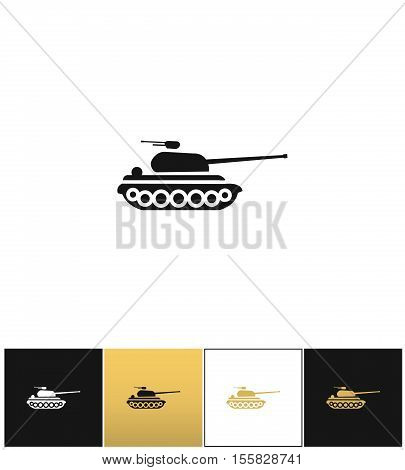 Military tank sign or fire warfare artillery vector icon. Military tank sign or fire warfare artillery pictograph on black, white and gold background