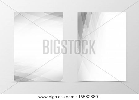 Front and back techno flyer template design. Abstract template with gray geometric surface in tech style. Vector illustration