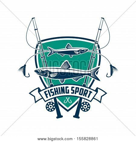 Fishing sport sign. Fisherman sport club vector isolated badge icon of fish, fishing spinning rod, hook bait, ribbon, marine shield. Fishing adventure trip