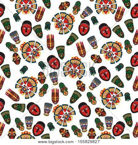 African masks seamless pattern on transparent background. Vector illustration
