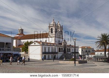 NAZARE, PORTUGAL - September 13, 2016: The imposing Church of Our Lady of Nazare (Igreja de Nossa Senhora da Nazare) located on the hilltop O Sitio overlooking Nazare Portugal