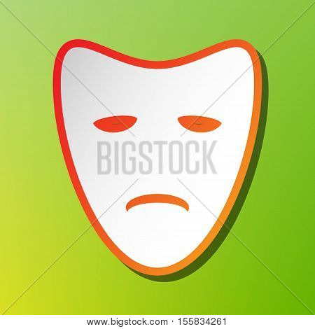 Tragedy Theatrical Masks. Contrast Icon With Reddish Stroke On Green Backgound.