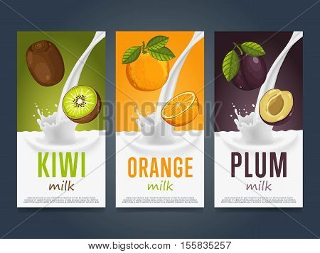Milkshake concept with milk splash and fruit vector illustration. Milk dessert, yogurt, fruit mix, cocktail drink, fruit smoothie with kiwi, orange and plum packaging design template. Dairy product.