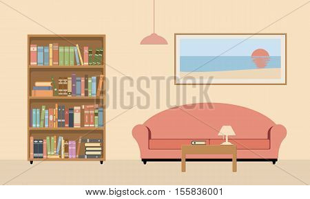 Living room library interior. Bookcase sofa table lamp and picture on a beige background. Vector illustration.