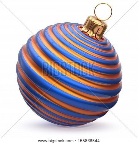 Christmas ball New Year's Eve decoration blue orange shiny striped bauble wintertime hanging adornment waved souvenir. Traditional ornament happy winter holidays Merry Xmas symbol closeup. 3d render